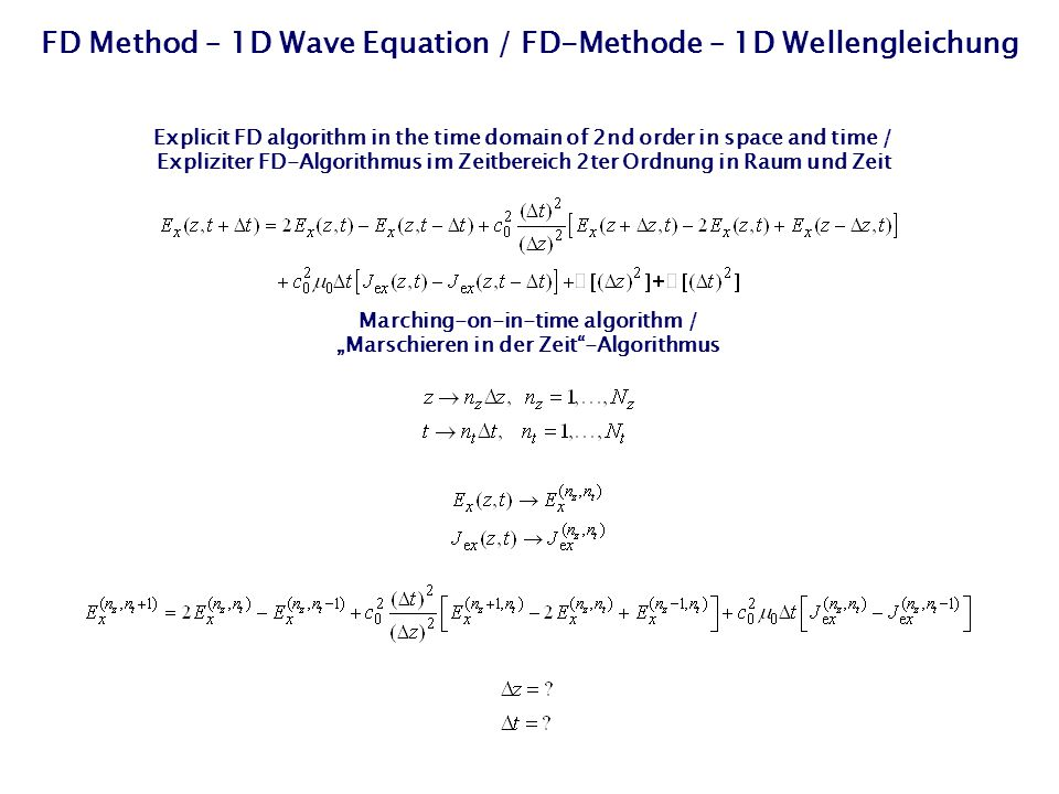FD Method – 1D Wave Equation / FD-Methode – 1D Wellengleichung