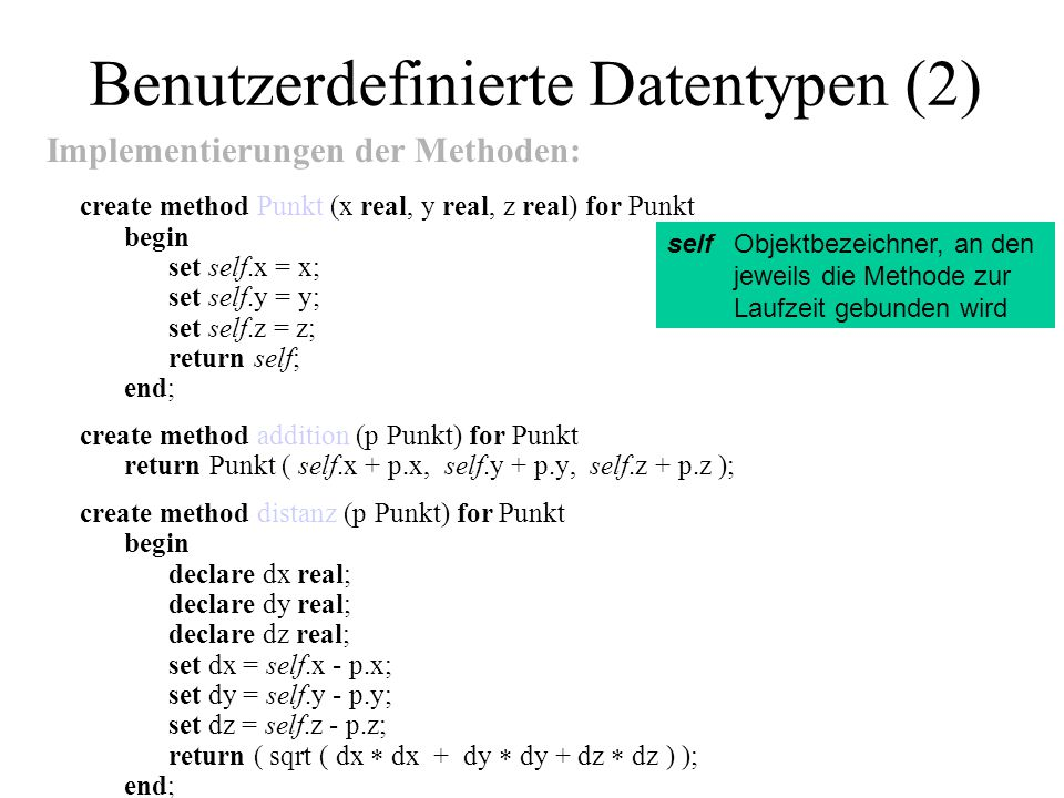 Benutzerdefinierte Datentypen (2)