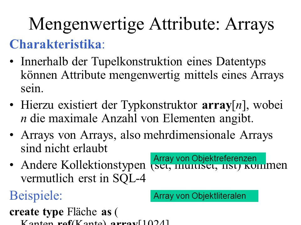 Mengenwertige Attribute: Arrays