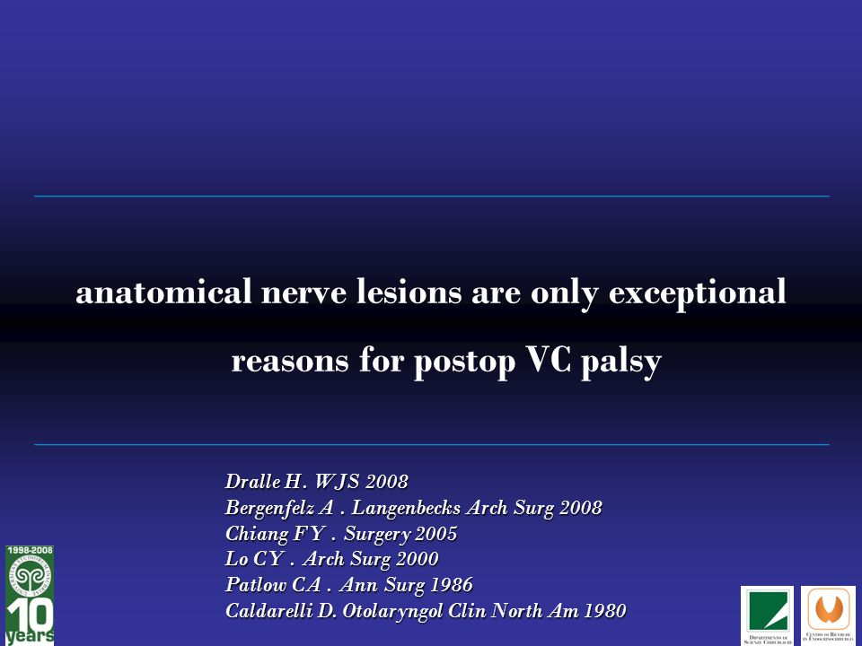 anatomical nerve lesions are only exceptional reasons for postop VC palsy