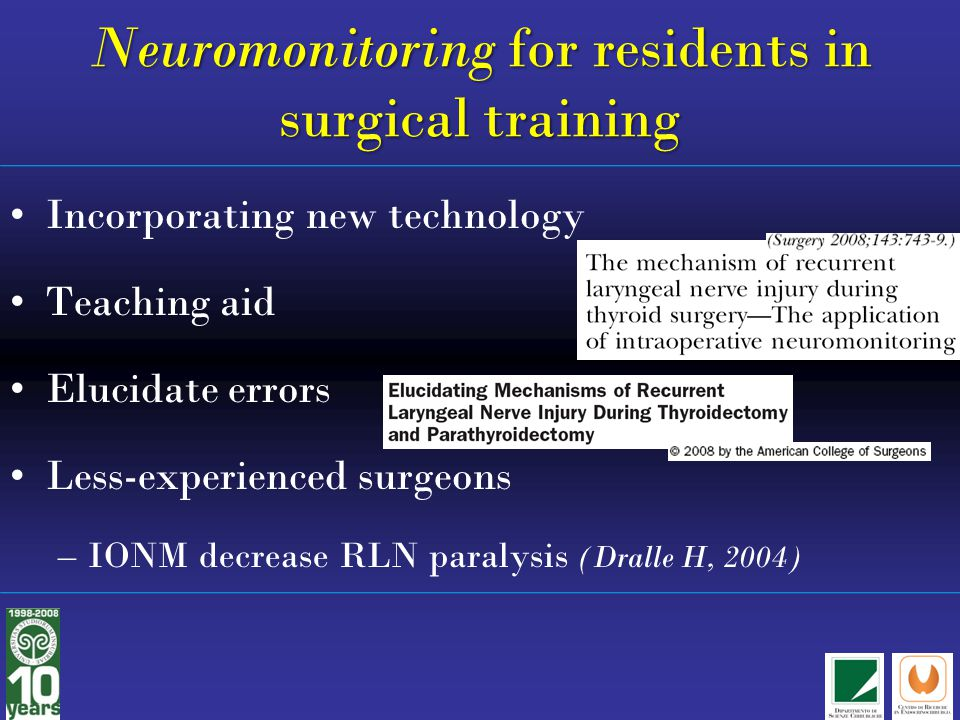 Neuromonitoring for residents in surgical training