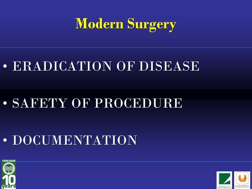 Modern Surgery ERADICATION OF DISEASE SAFETY OF PROCEDURE
