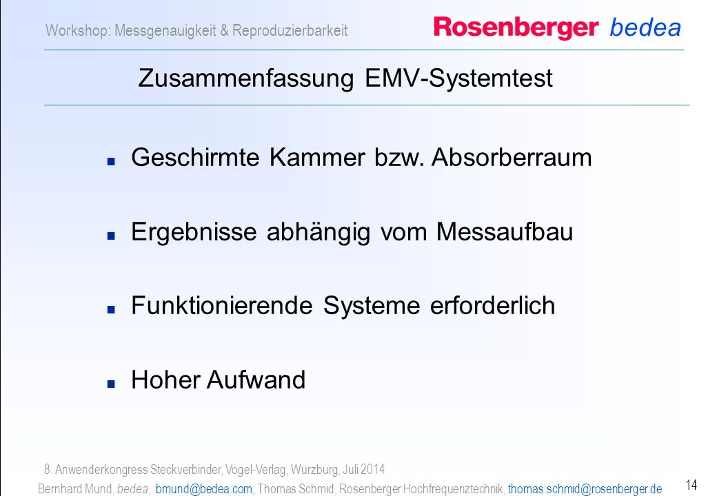Zusammenfassung EMV-Systemtest