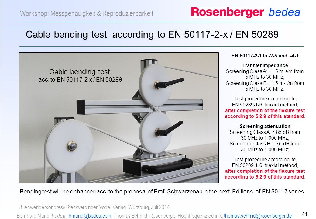 Cable bending test according to EN 50117-2-x / EN 50289