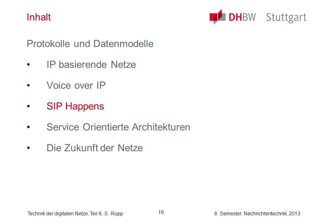 Inhalt Protokolle und Datenmodelle. IP basierende Netze. Voice over IP. SIP Happens. Service Orientierte Architekturen.