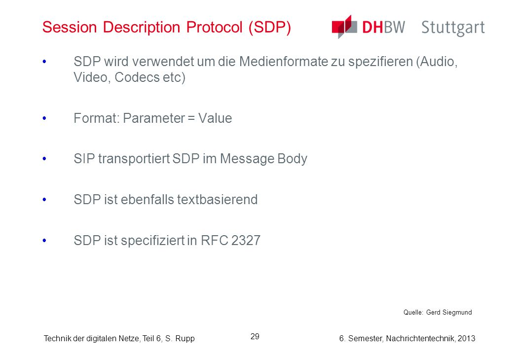 Session Description Protocol (SDP)