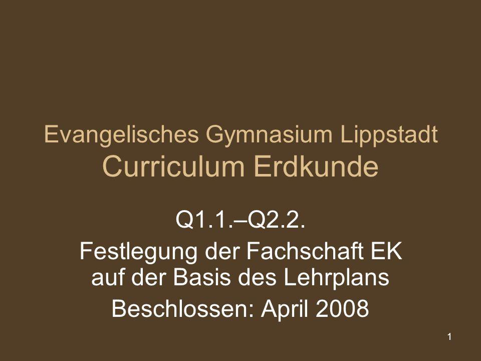 Evangelisches Gymnasium Lippstadt Curriculum Erdkunde