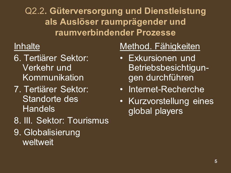 Q2.2. Güterversorgung und Dienstleistung als Auslöser raumprägender und raumverbindender Prozesse