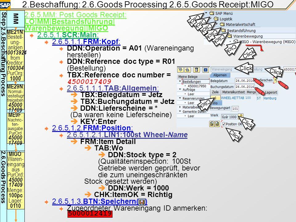 2.Beschaffung: 2.6.Goods Processing 2.6.5.Goods Receipt:MIGO