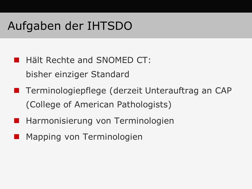 Aufgaben der IHTSDO Hält Rechte and SNOMED CT: bisher einziger Standard.