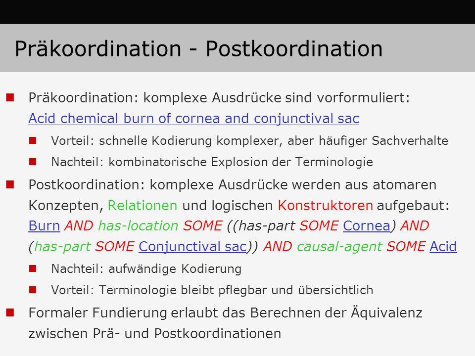 Präkoordination - Postkoordination