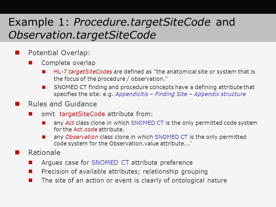 Example 1: Procedure.targetSiteCode and Observation.targetSiteCode