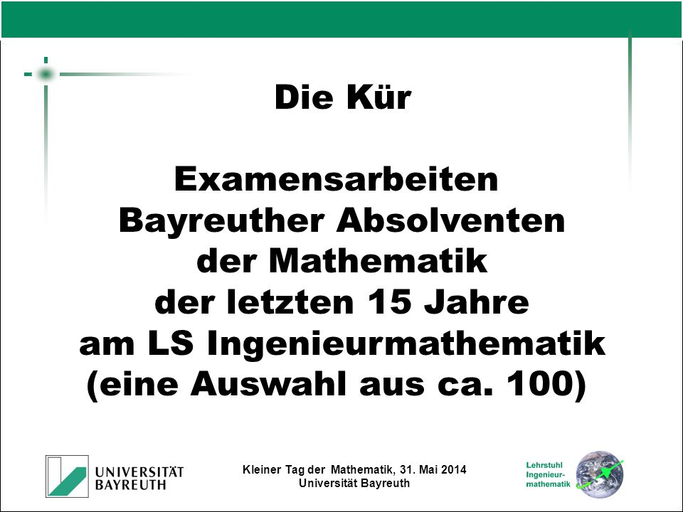 Bayreuther Absolventen der Mathematik der letzten 15 Jahre