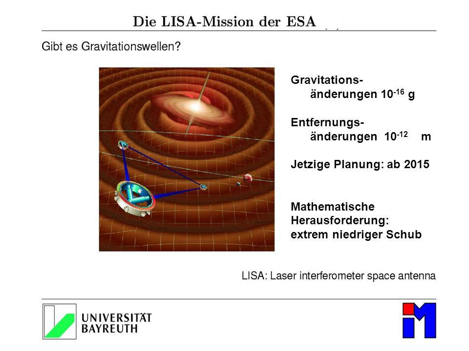 Gravitations- änderungen 10-16 g. Entfernungs- änderungen 10-12 m. Jetzige Planung: ab 2015.