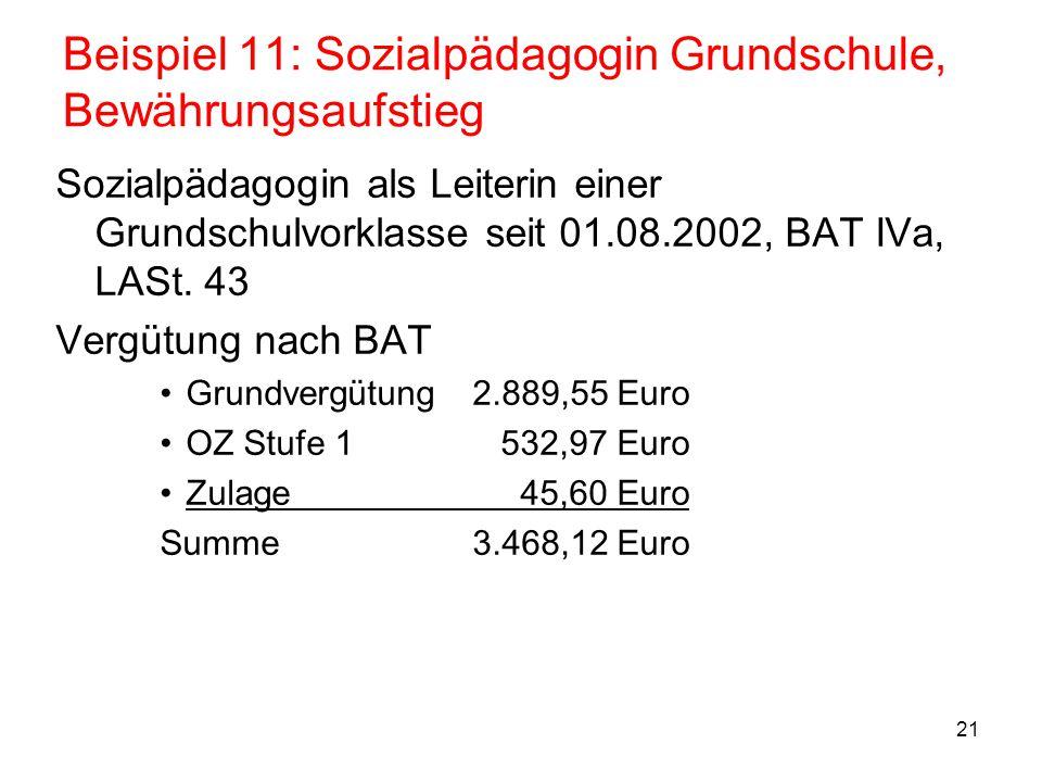 Beispiel 11: Sozialpädagogin Grundschule, Bewährungsaufstieg
