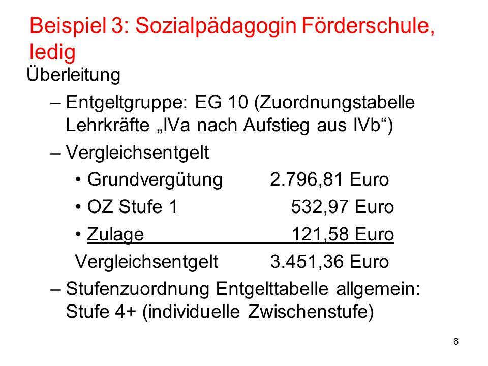 Beispiel 3: Sozialpädagogin Förderschule, ledig