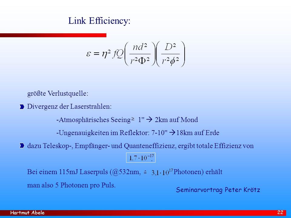 Link Efficiency: größte Verlustquelle: Divergenz der Laserstrahlen: