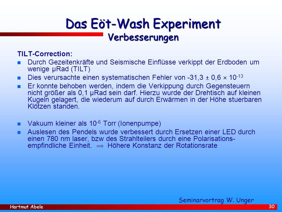 Das Eöt-Wash Experiment Verbesserungen