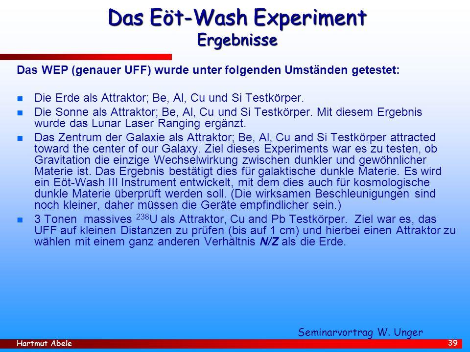 Das Eöt-Wash Experiment Ergebnisse