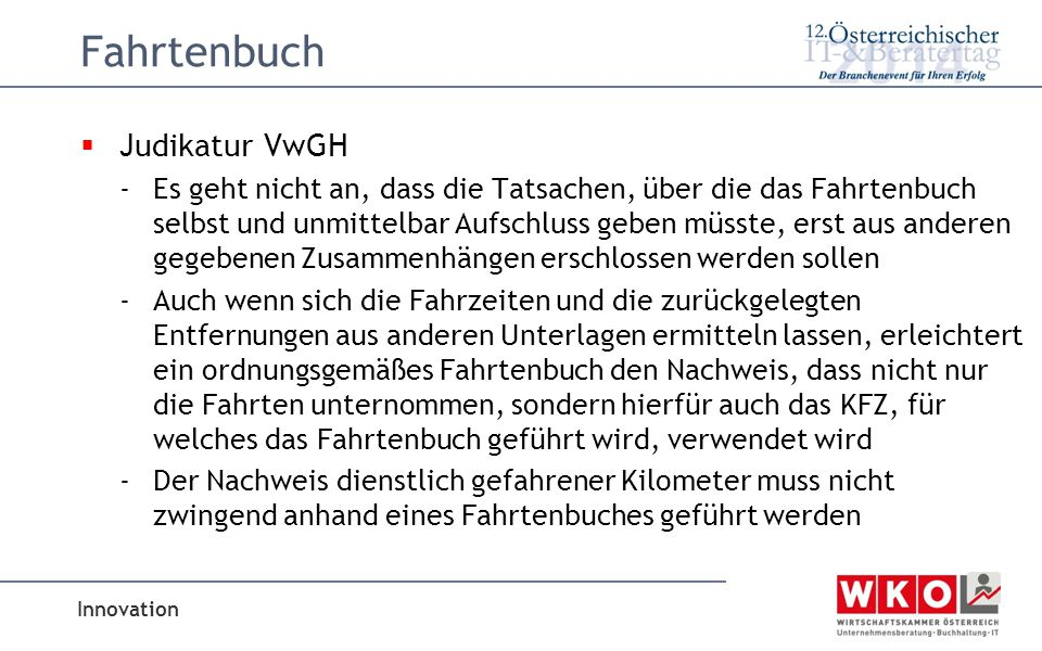 Fahrtenbuch Judikatur VwGH