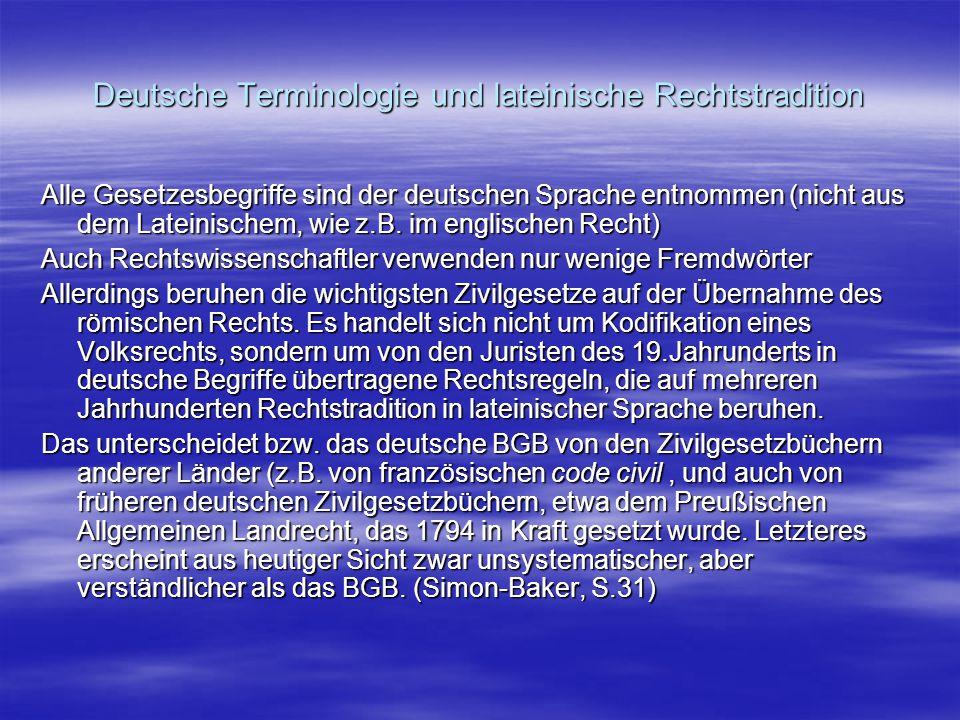 Deutsche Terminologie und lateinische Rechtstradition