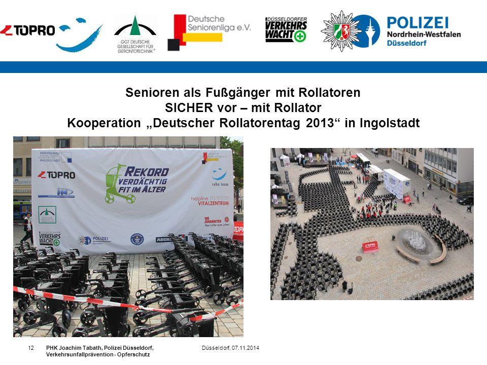 """Senioren als Fußgänger mit Rollatoren SICHER vor – mit Rollator Kooperation """"Deutscher Rollatorentag 2013 in Ingolstadt"""