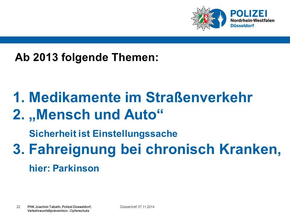 """1. Medikamente im Straßenverkehr 2. """"Mensch und Auto"""