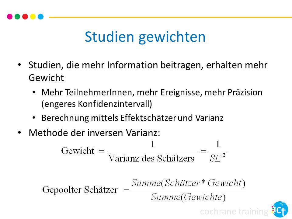 Studien gewichten Studien, die mehr Information beitragen, erhalten mehr Gewicht.