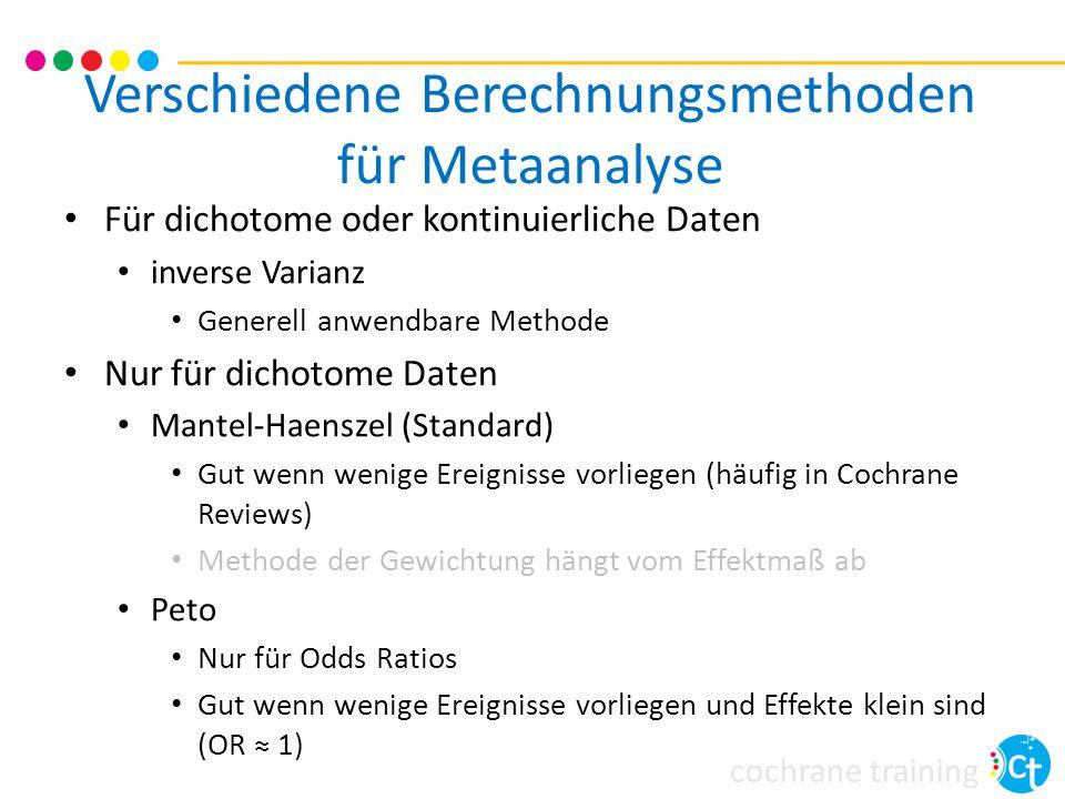 Verschiedene Berechnungsmethoden für Metaanalyse