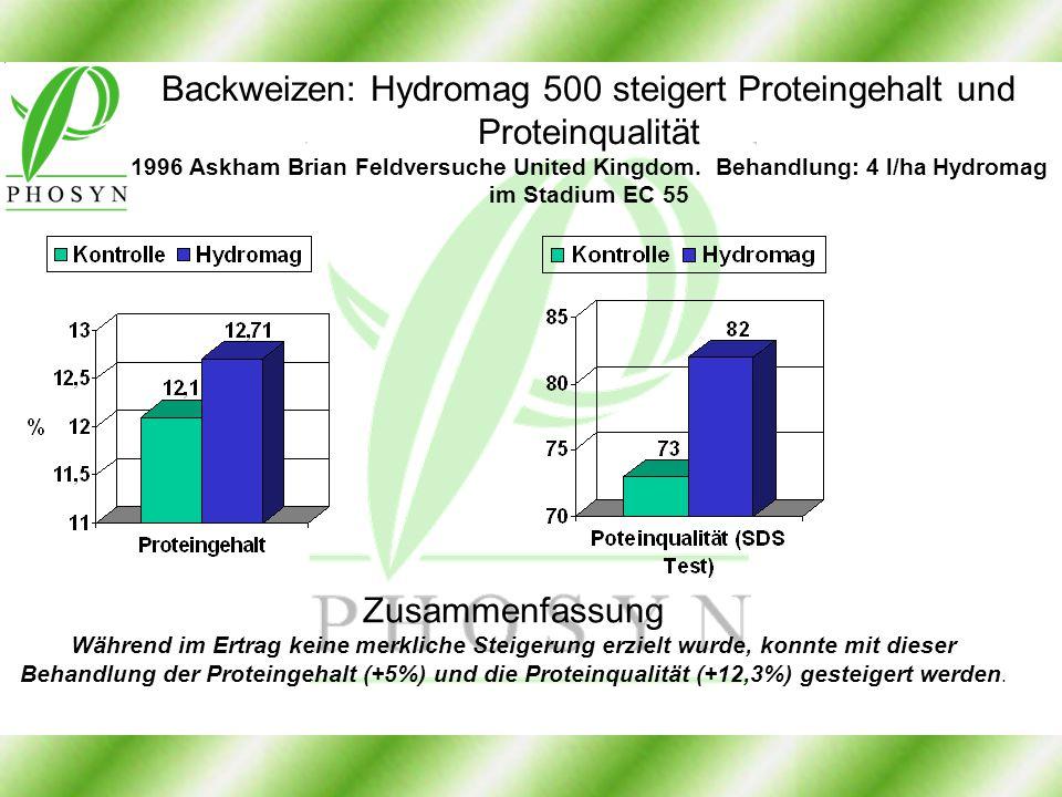 Backweizen: Hydromag 500 steigert Proteingehalt und Proteinqualität 1996 Askham Brian Feldversuche United Kingdom. Behandlung: 4 l/ha Hydromag im Stadium EC 55