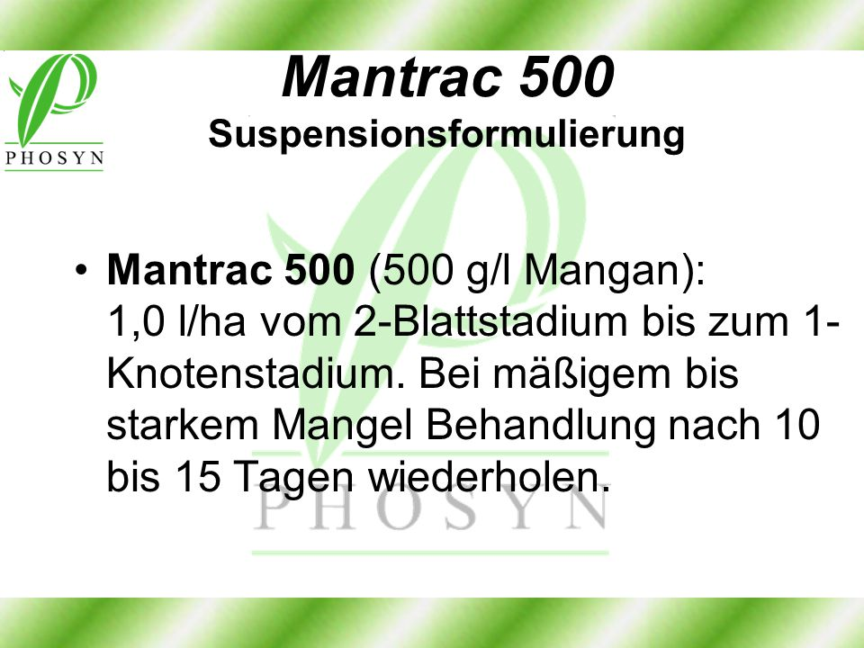 Mantrac 500 Suspensionsformulierung