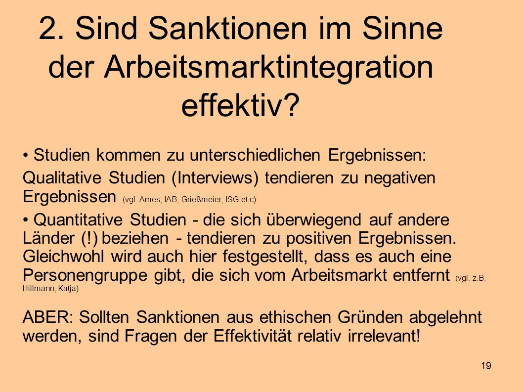 2. Sind Sanktionen im Sinne der Arbeitsmarktintegration effektiv