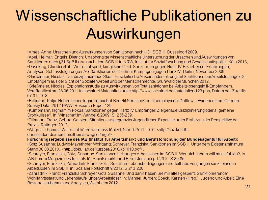 Wissenschaftliche Publikationen zu Auswirkungen