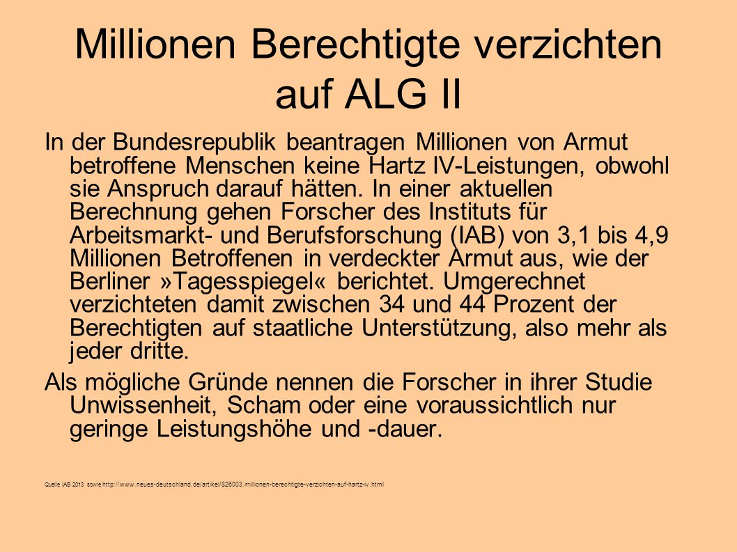 Millionen Berechtigte verzichten auf ALG II