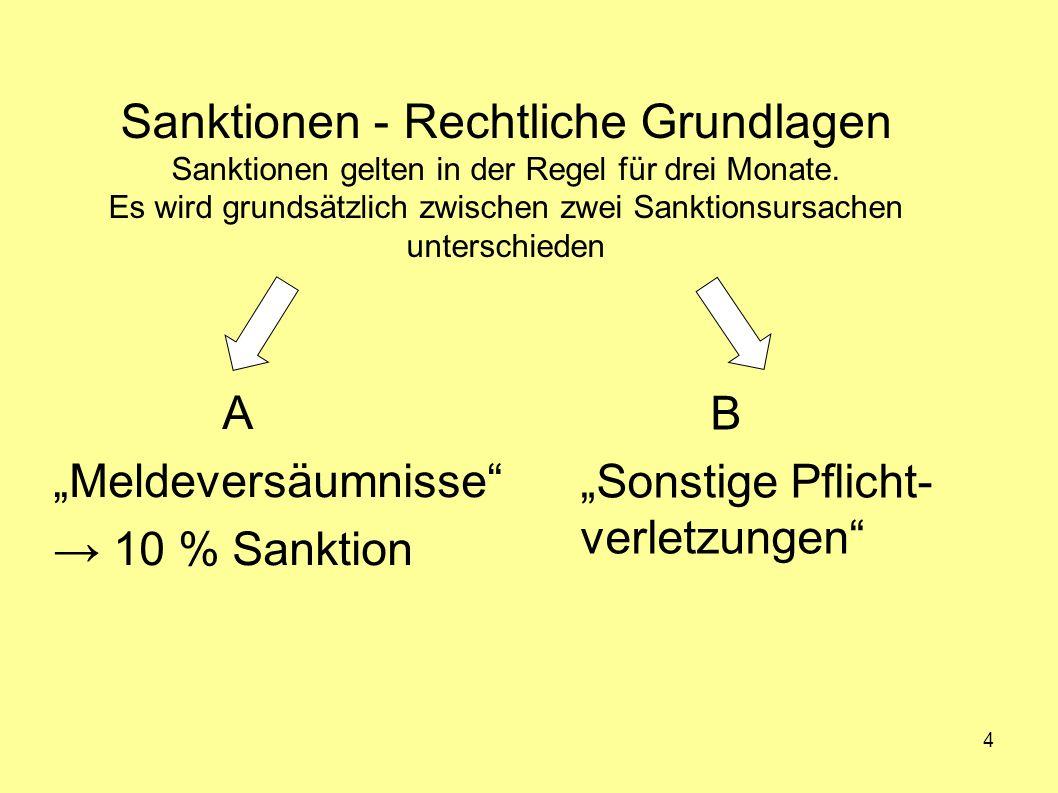 Sanktionen - Rechtliche Grundlagen Sanktionen gelten in der Regel für drei Monate. Es wird grundsätzlich zwischen zwei Sanktionsursachen unterschieden
