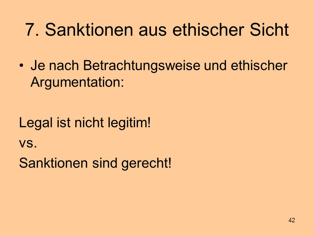 7. Sanktionen aus ethischer Sicht