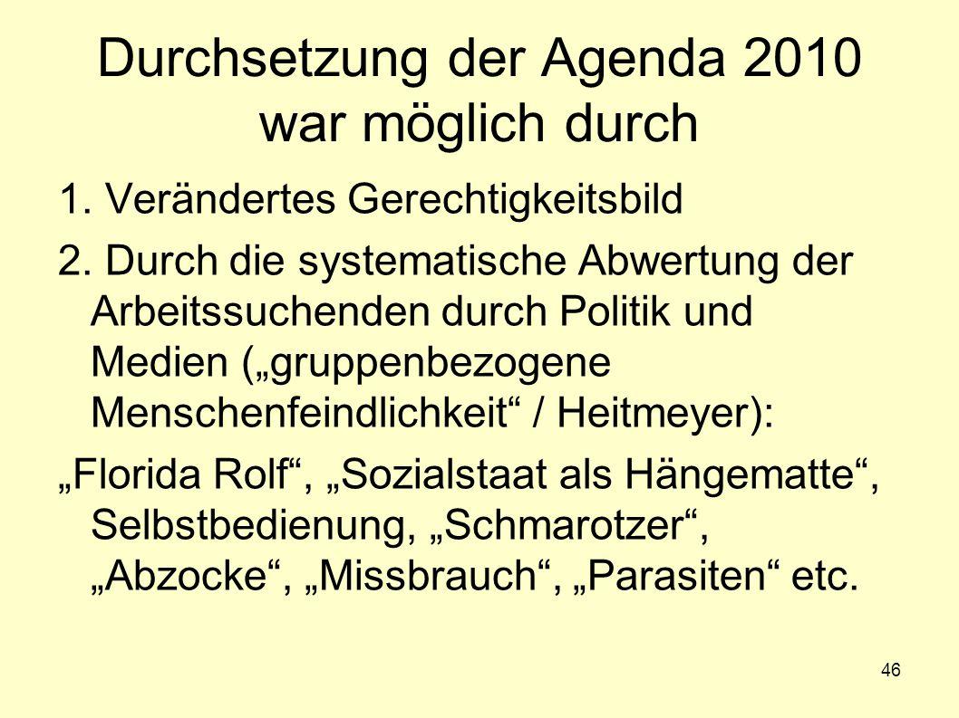 Durchsetzung der Agenda 2010 war möglich durch