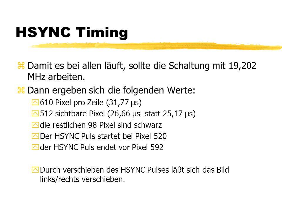 HSYNC Timing Damit es bei allen läuft, sollte die Schaltung mit 19,202 MHz arbeiten. Dann ergeben sich die folgenden Werte: