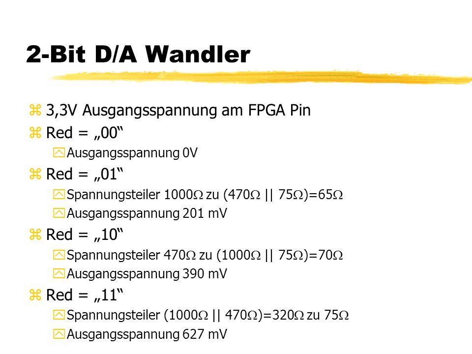 """2-Bit D/A Wandler 3,3V Ausgangsspannung am FPGA Pin Red = """"00"""