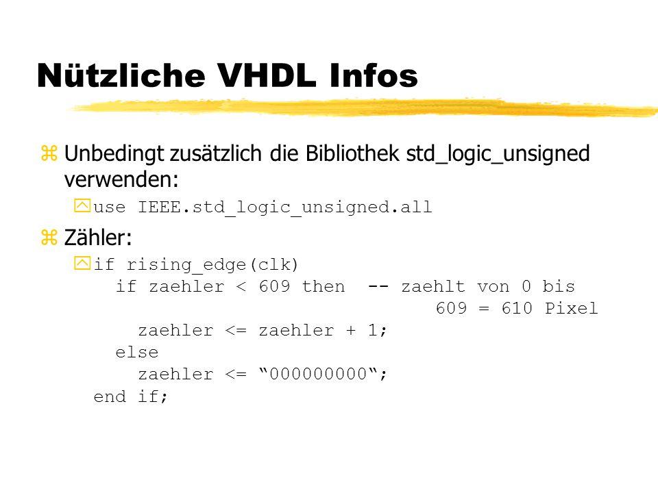 Nützliche VHDL Infos Unbedingt zusätzlich die Bibliothek std_logic_unsigned verwenden: use IEEE.std_logic_unsigned.all.