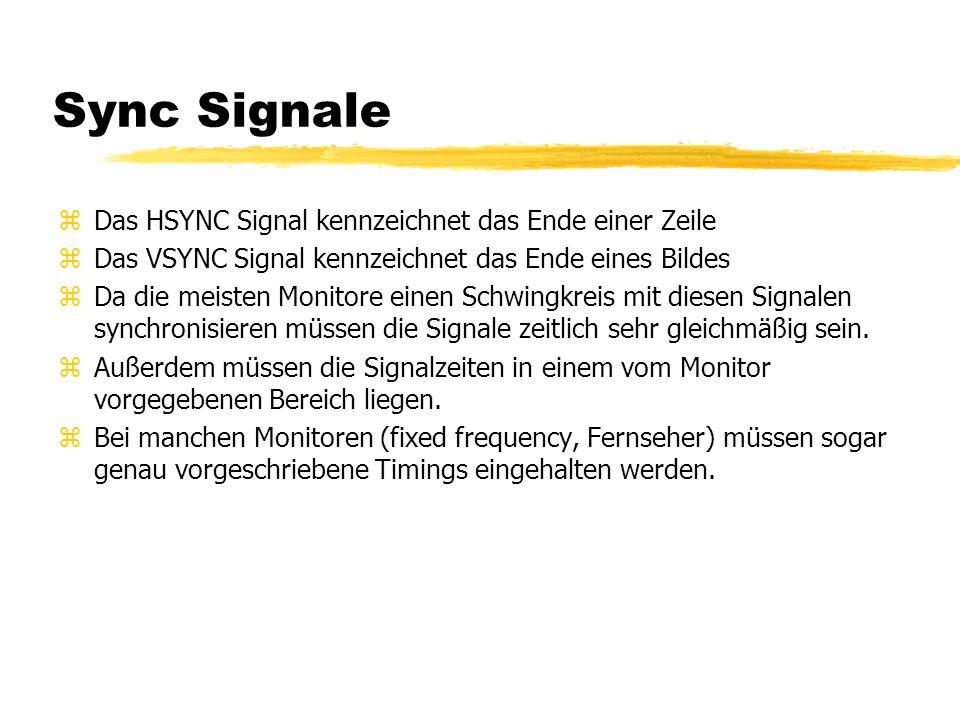 Sync Signale Das HSYNC Signal kennzeichnet das Ende einer Zeile