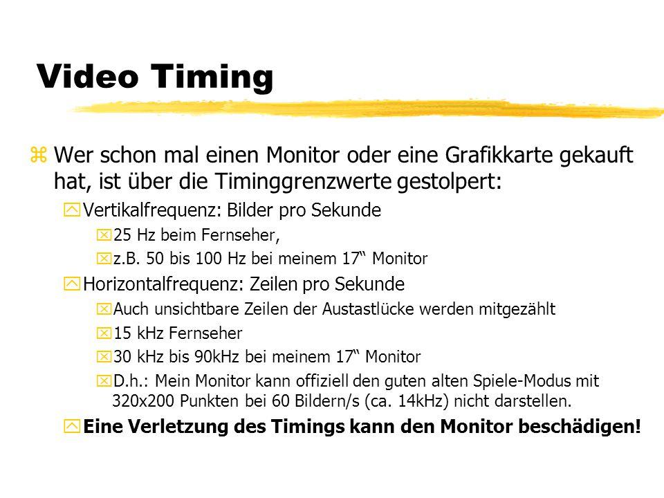 Video Timing Wer schon mal einen Monitor oder eine Grafikkarte gekauft hat, ist über die Timinggrenzwerte gestolpert: