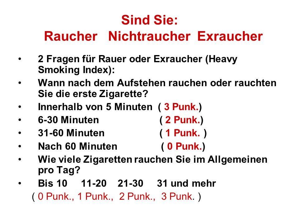 Sind Sie: Raucher Nichtraucher Exraucher
