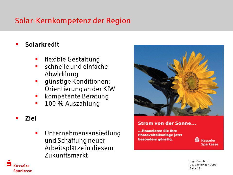 Solar-Kernkompetenz der Region