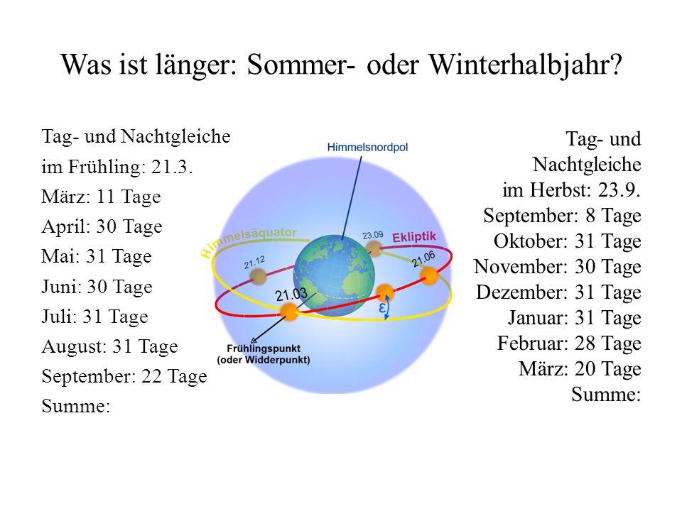 Was ist länger: Sommer- oder Winterhalbjahr