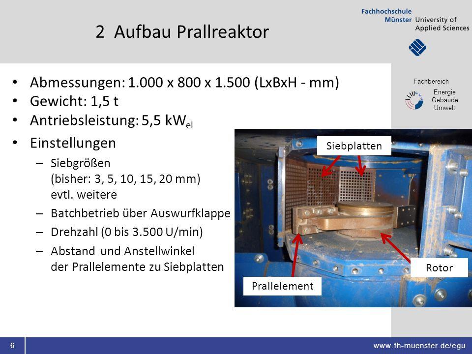 2 Aufbau Prallreaktor Abmessungen: 1.000 x 800 x 1.500 (LxBxH - mm)