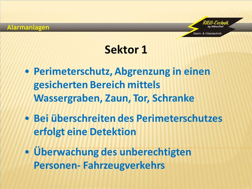 Sektor 1 Perimeterschutz, Abgrenzung in einen gesicherten Bereich mittels Wassergraben, Zaun, Tor, Schranke.