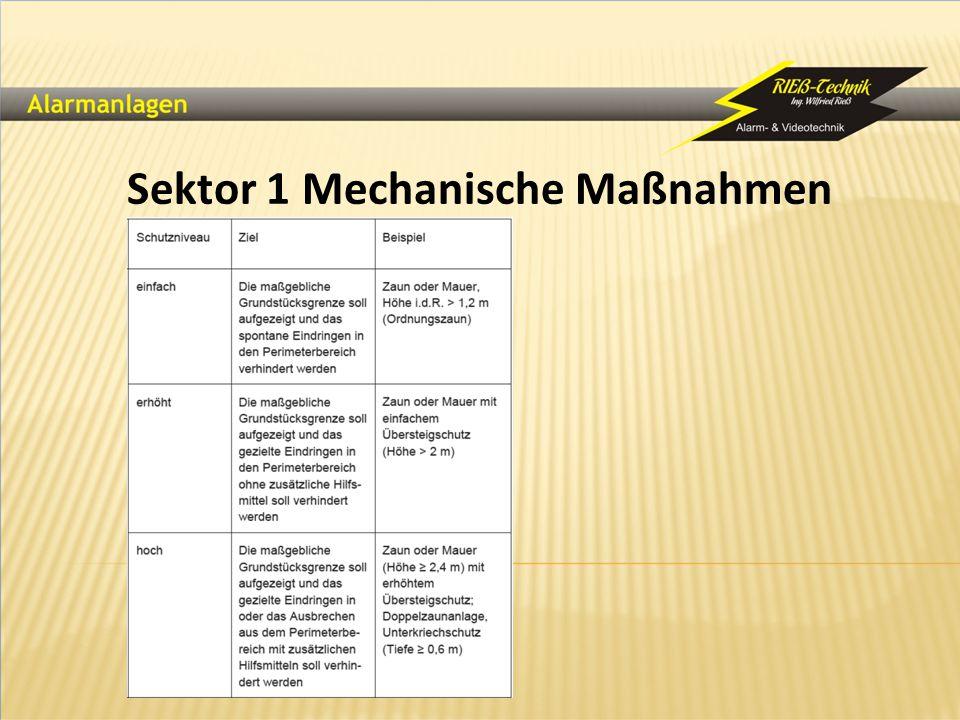 Sektor 1 Mechanische Maßnahmen
