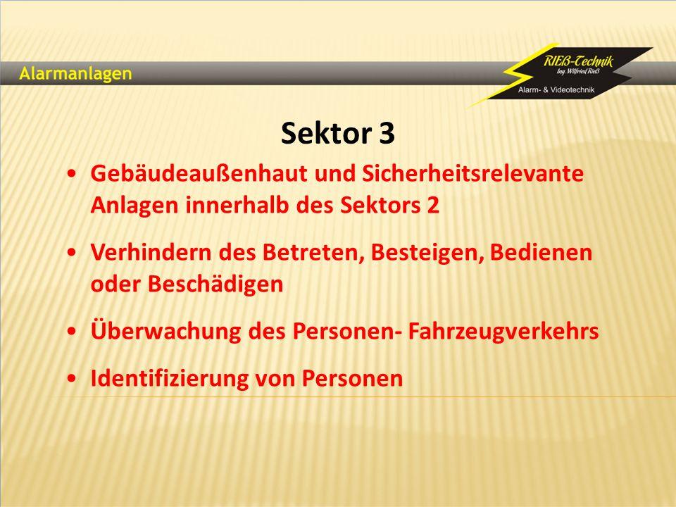 Sektor 3 Gebäudeaußenhaut und Sicherheitsrelevante Anlagen innerhalb des Sektors 2. Verhindern des Betreten, Besteigen, Bedienen oder Beschädigen.