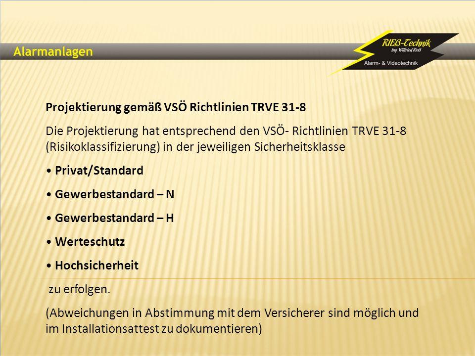 Projektierung gemäß VSÖ Richtlinien TRVE 31-8